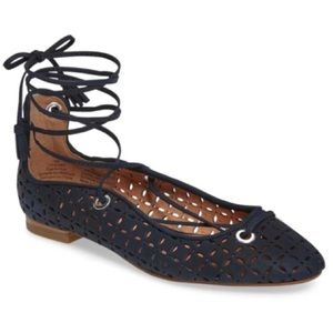 Halogen Perforated Lasercut Lace Up Ballet Flats